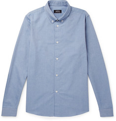 A.P.C. Button-Down Collar Mélange Cotton Oxford Shirt