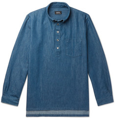 A.P.C. Aldric Button-Down Collar Cotton-Blend Denim Shirt