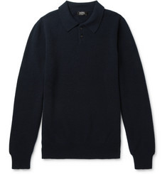 A.P.C. Guitry Slim-Fit Wool and Cashmere-Blend Piqué Polo Shirt