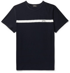 A.P.C. Yukata Loopback-Paneled Cotton-Jersey T-Shirt