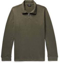 A.P.C. Jerry Cotton-Blend Jersey Half-Zip Sweater
