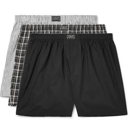 Polo Ralph Lauren – Three-pack Cotton-poplin Boxer Shorts – Black