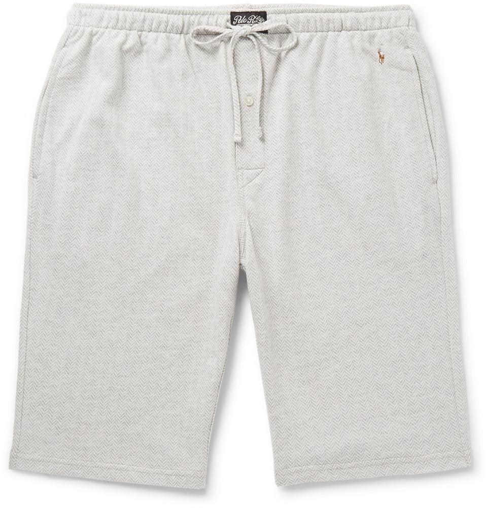 Billede af Andover Herringbone Cotton Pyjama Shorts - Gray