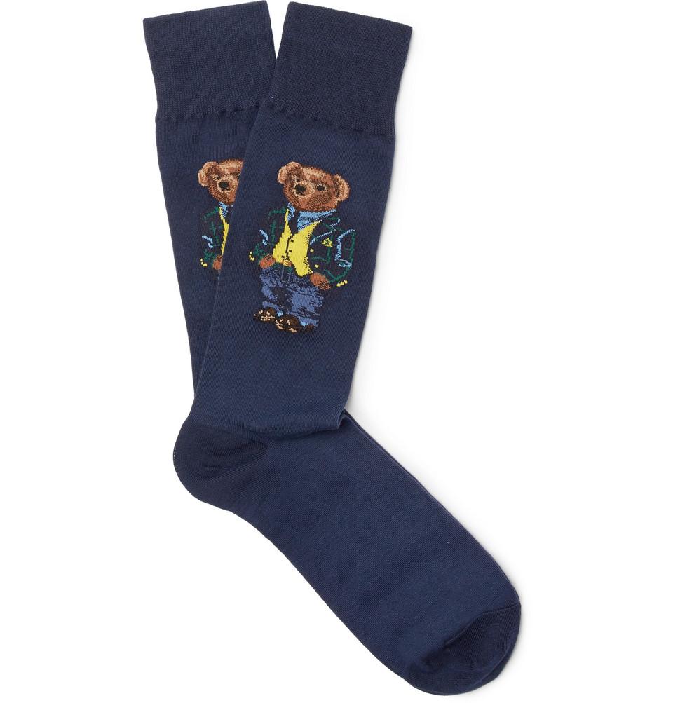 Billede af Bear-intarsia Stretch-cotton Blend Socks - Navy