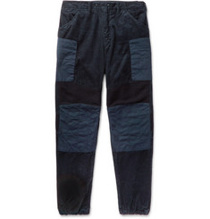 Engineered Garments Patchwork Wide-Leg Cotton-Corduroy, Ribbed Wool and Canvas Trousers