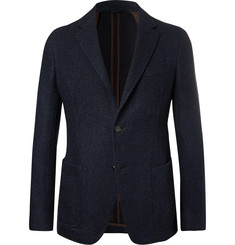 Ermenegildo Zegna Navy Slim-Fit Textured Alpaca-Blend Blazer