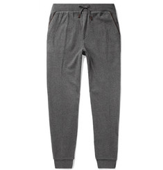 Ermenegildo Zegna Tapered Leather-Trimmed Silk-Jersey Sweatpants
