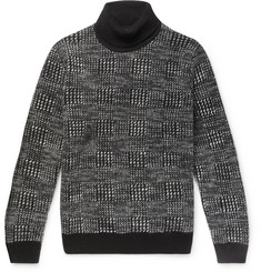 Ermenegildo Zegna Checked Cashmere and Silk-Blend Rollneck Sweater