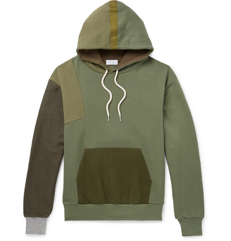 Distorted Patchwork Fleece Back Cotton Jersey Hoodie by John Elliott