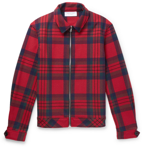 Checked Wool Blend Blouson Jacket by John Elliott