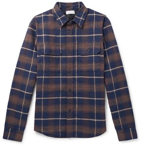 Checked Cotton Flannel Padded Overshirt by John Elliott