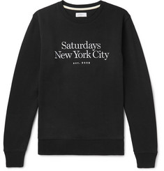 Saturdays NYC Bowery Miller Logo-Embroidered Loopback Cotton-Jersey Sweatshirt