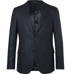 Officine Generale Midnight-Blue Herringbone Cashmere Blazer