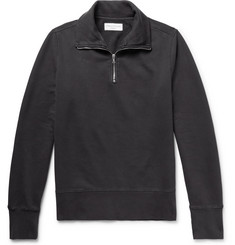 Officine Generale Fleece-Back Cotton-Jersey Half-Zip Sweatshirt