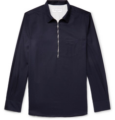 Officine Generale Wool-Twill Half-Zip Overshirt
