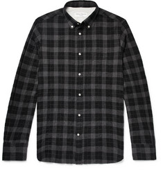 Officine Generale - Slim-Fit Button-Down Collar Checked Cotton-Blend Shirt