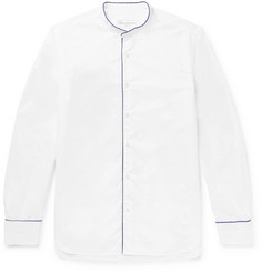 Officine Generale Slim-Fit Grandad-Collar Piped Cotton-Poplin Shirt