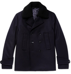 Officine Generale Faux Shearling-Trimmed Double-Breasted Melton Wool-Blend Peacoat