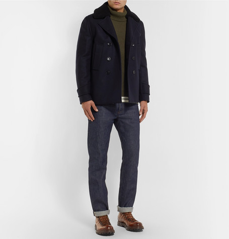 Faux Shearling Trimmed Double Breasted Melton Wool Blend Peacoat by Officine Generale