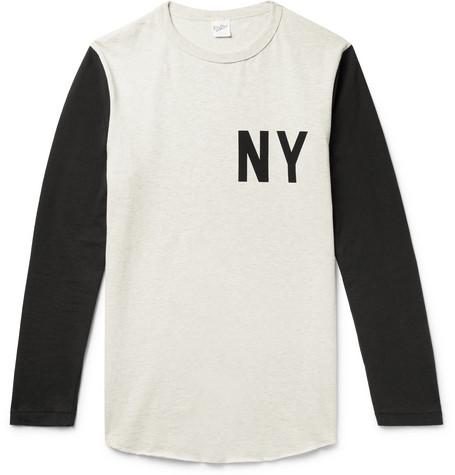 VELVA SHEEN Slim-Fit Printed Colour-Block Mélange Cotton-Jersey T-Shirt - Cream