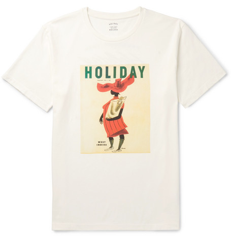 HOLIDAY BOILEAU Printed Cotton-Jersey T-Shirt in White