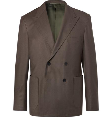 CAMOSHITA Grey Double-Breasted Wool-Twill Blazer in Brown