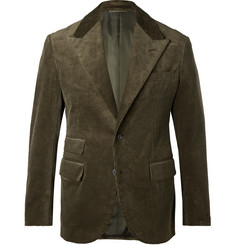Camoshita Army-Green Slim-Fit Cotton-Corduroy Suit Jacket