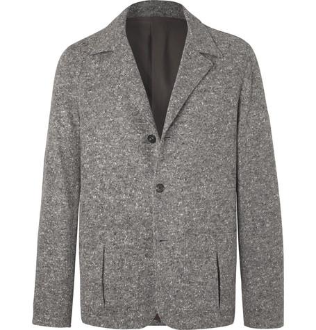 CAMOSHITA Grey Unstructured Mélange Wool-Blend Blazer in Gray