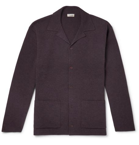 CAMOSHITA Camp-Collar Boiled Wool Cardigan in Plum