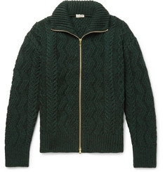 Camoshita - Cable-Knit Wool Zip-Up Cardigan