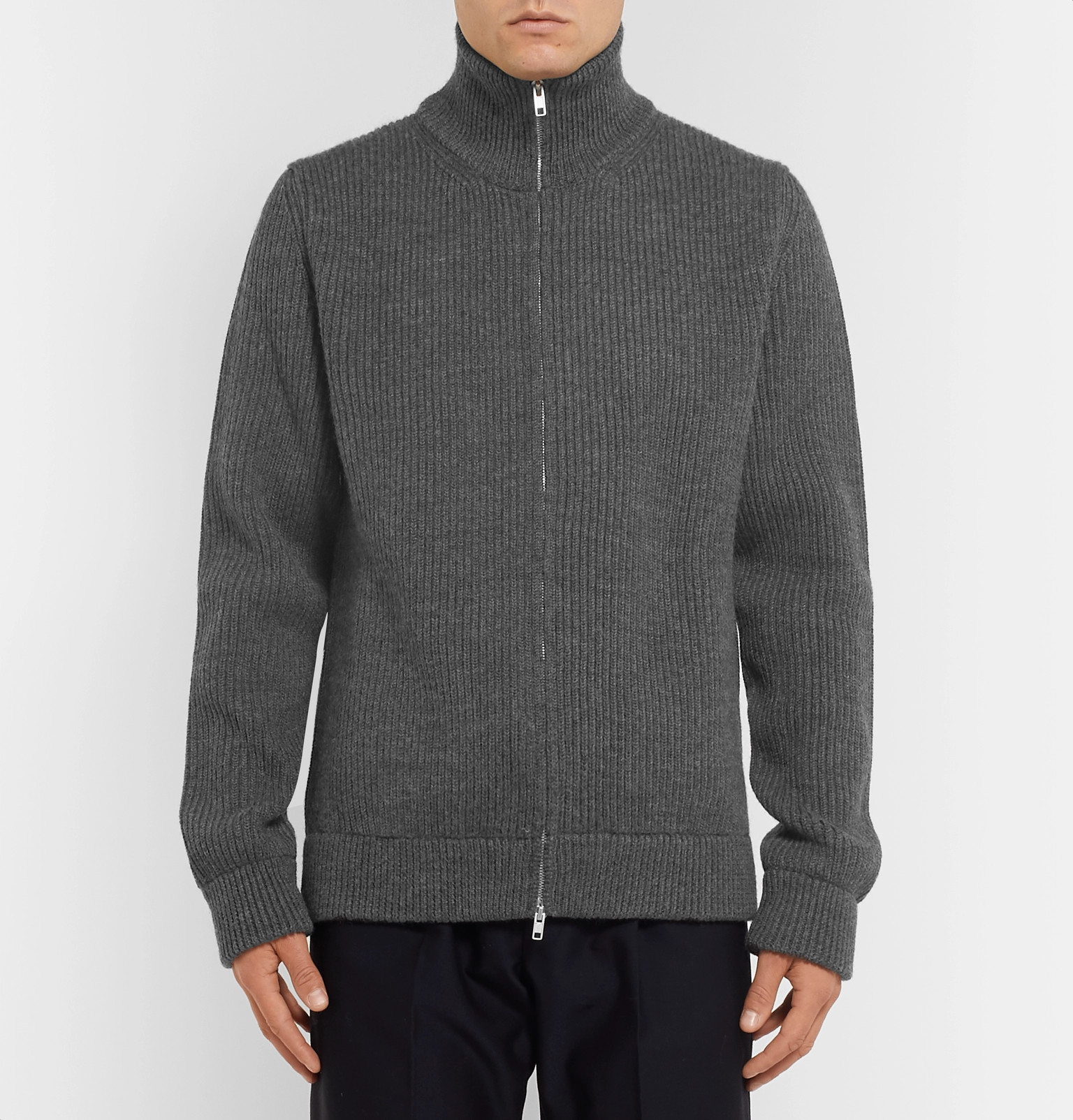 Up Wool Mélange Maison Margielaribbed Zip Sweater 07HWBq