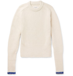 Maison Margiela - Slim-Fit Contrast-Tipped Ribbed Cashmere and Wool-Blend Sweater