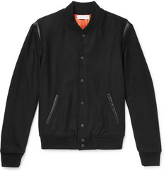 John Elliott Leather-Trimmed Wool-Blend Bomber Jacket