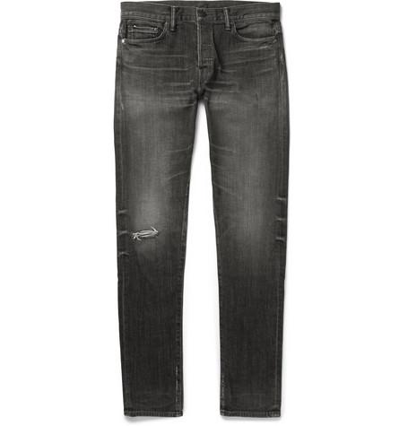 slim-fit-distressed-denim-jeans by john-elliott