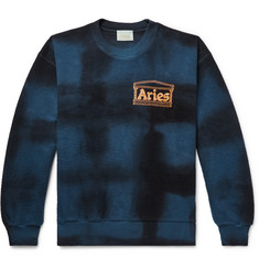 Aries Logo-Print Tie-Dyed Cotton-Terry Sweatshirt