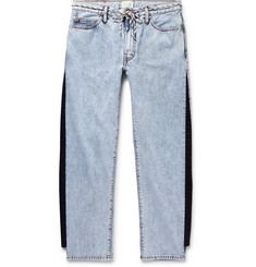 Aries Twill-Trimmed Acid-Washed Jeans