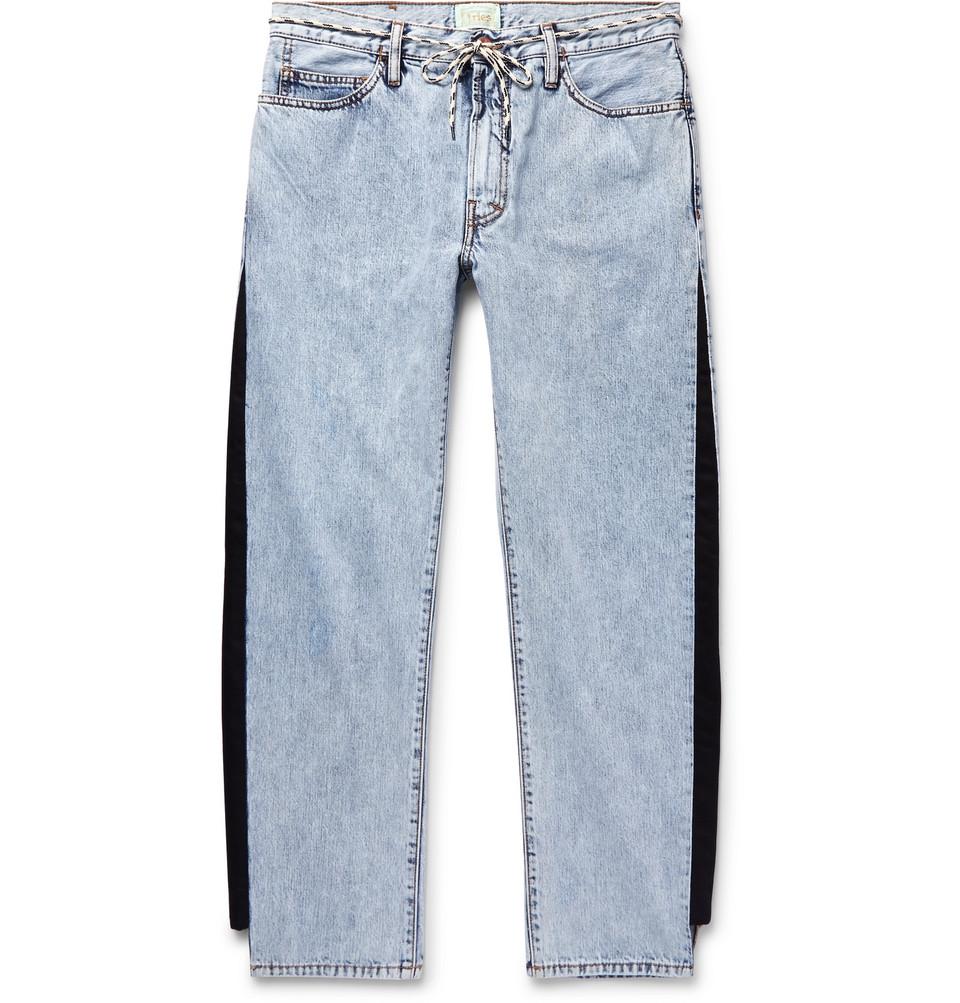 Twill-trimmed Acid-washed Jeans - Blue