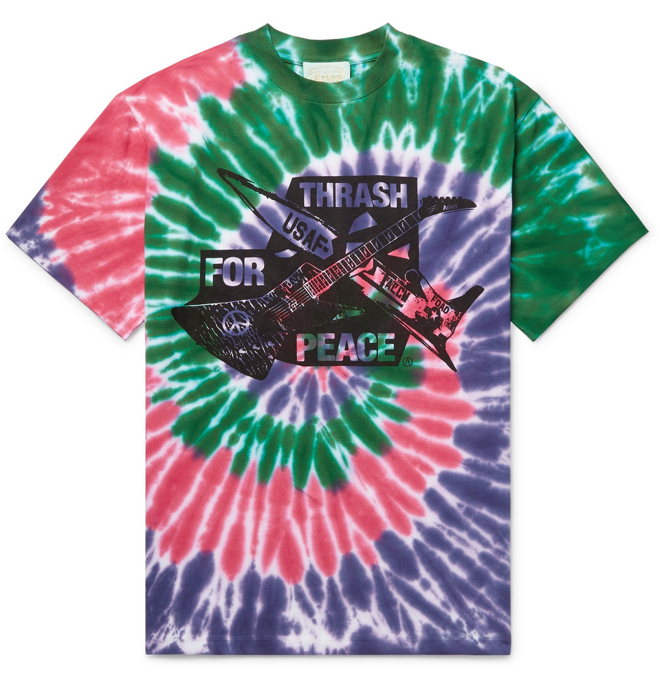 Printed Tie-dyed Cotton-jersey T-shirt - Multi