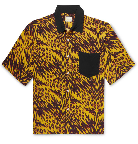 ARIES CAMP-COLLAR PRINTED WOVEN SHIRT