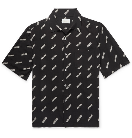 Camp Collar Logo Print Woven Shirt by Aries