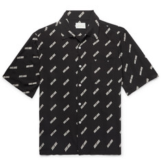 Aries Camp-Collar Logo-Print Woven Shirt