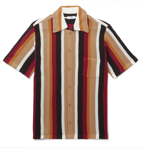 CMMN SWDN Wes Striped Cotton Shirt - Wine Size M in Tan