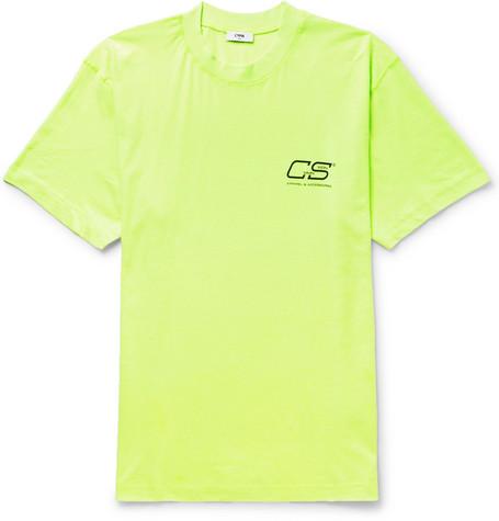 CMMN SWDN Ridley Logo-Print Neon Cotton-Jersey T-Shirt - Yellow