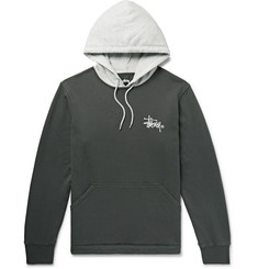 Stüssy Two-Tone Logo-Print Loopback Cotton-Jersey Hoodie