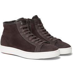 Santoni - Shearling-Lined Suede High-Top Sneakers