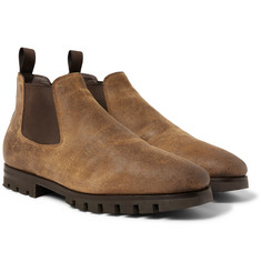Santoni - Shearling-Lined Oiled-Suede Chelsea Boots