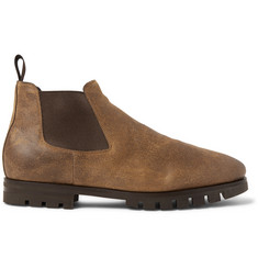 Santoni Shearling-Lined Oiled-Suede Chelsea Boots