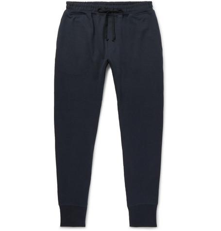 SECONDSKIN Slim-Fit Tapered Loopback Supima Cotton-Jersey Sweatpants - Navy