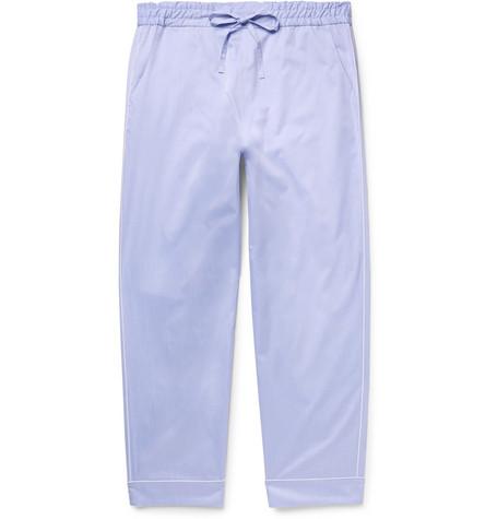 SECONDSKIN Piped Cotton-Twill Pyjama Trousers - Ight Blue in Light Blue