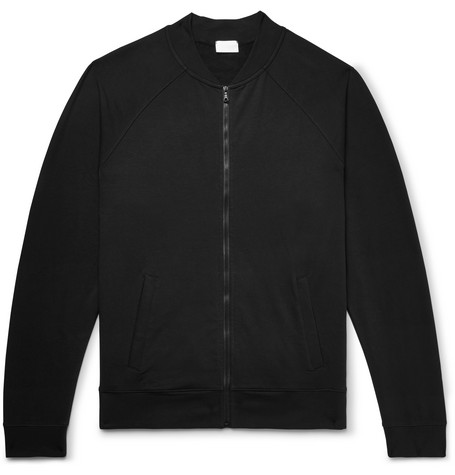 HANDVAERK Loopback Stretch-Cotton Jersey Bomber Jacket - Black